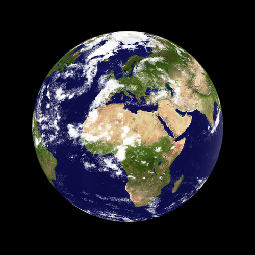 Earth planet. Europe & Africa in the center, clouded.